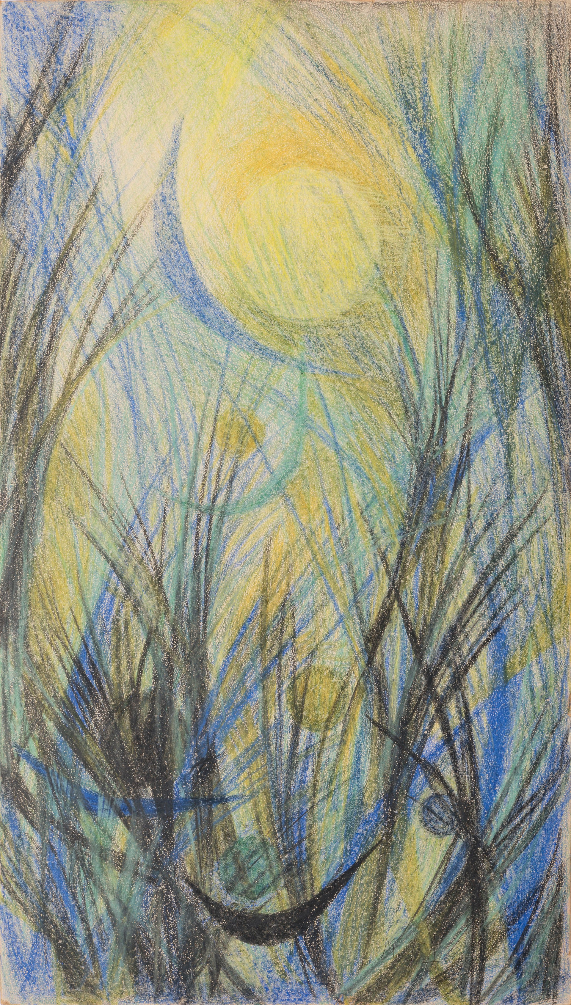 Untitled - full and crescent moons over abstract woods