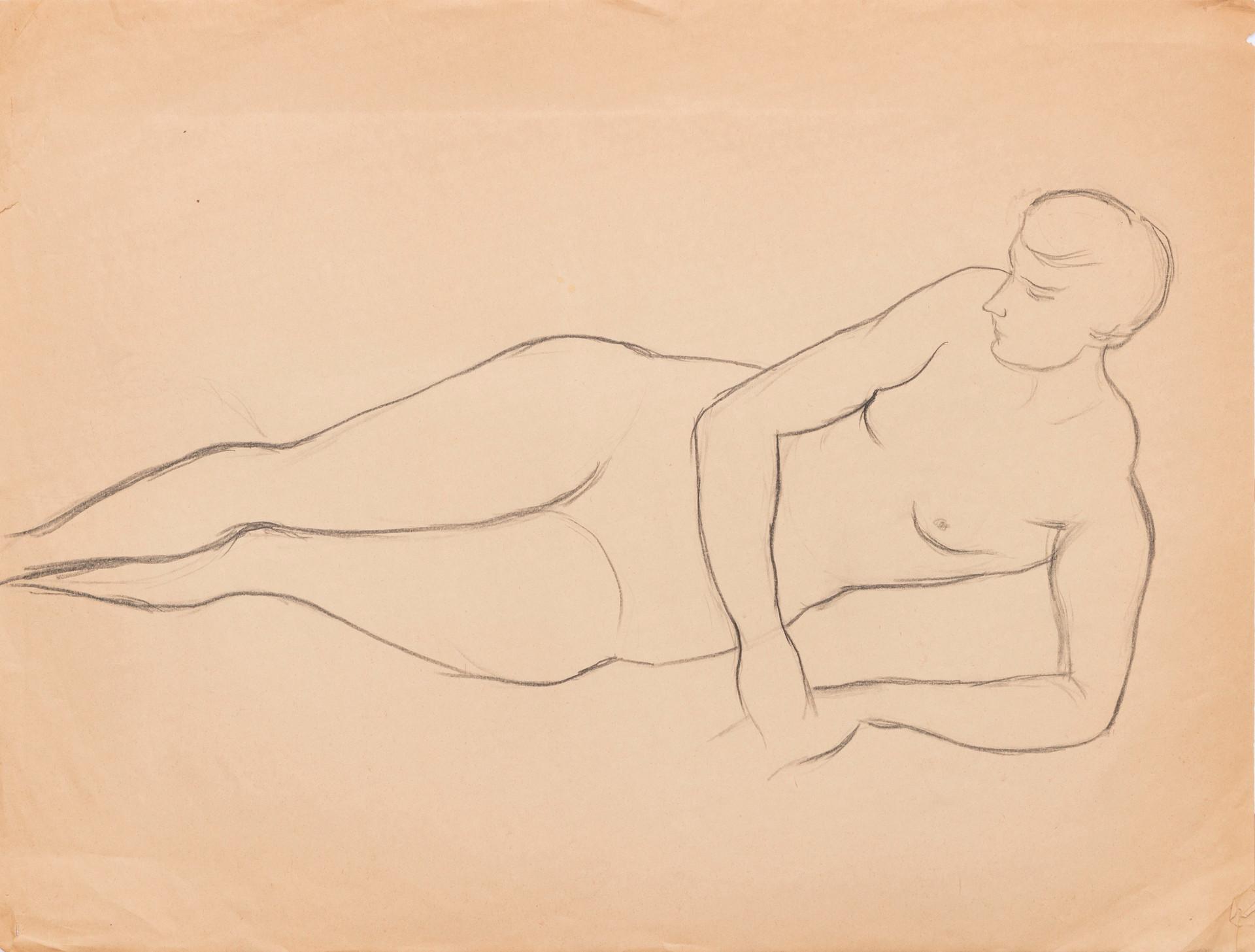 Untitled sketch - nude female lying