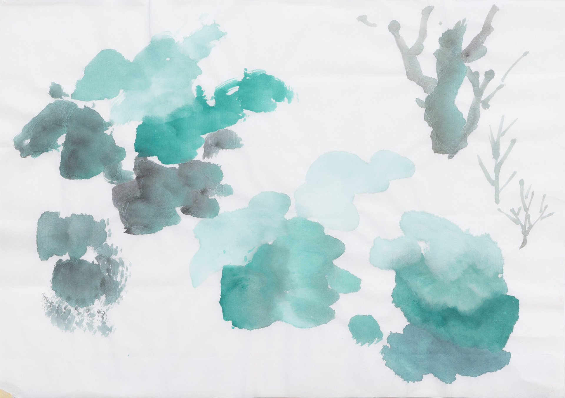 Untitled sketch - abstract green bushes