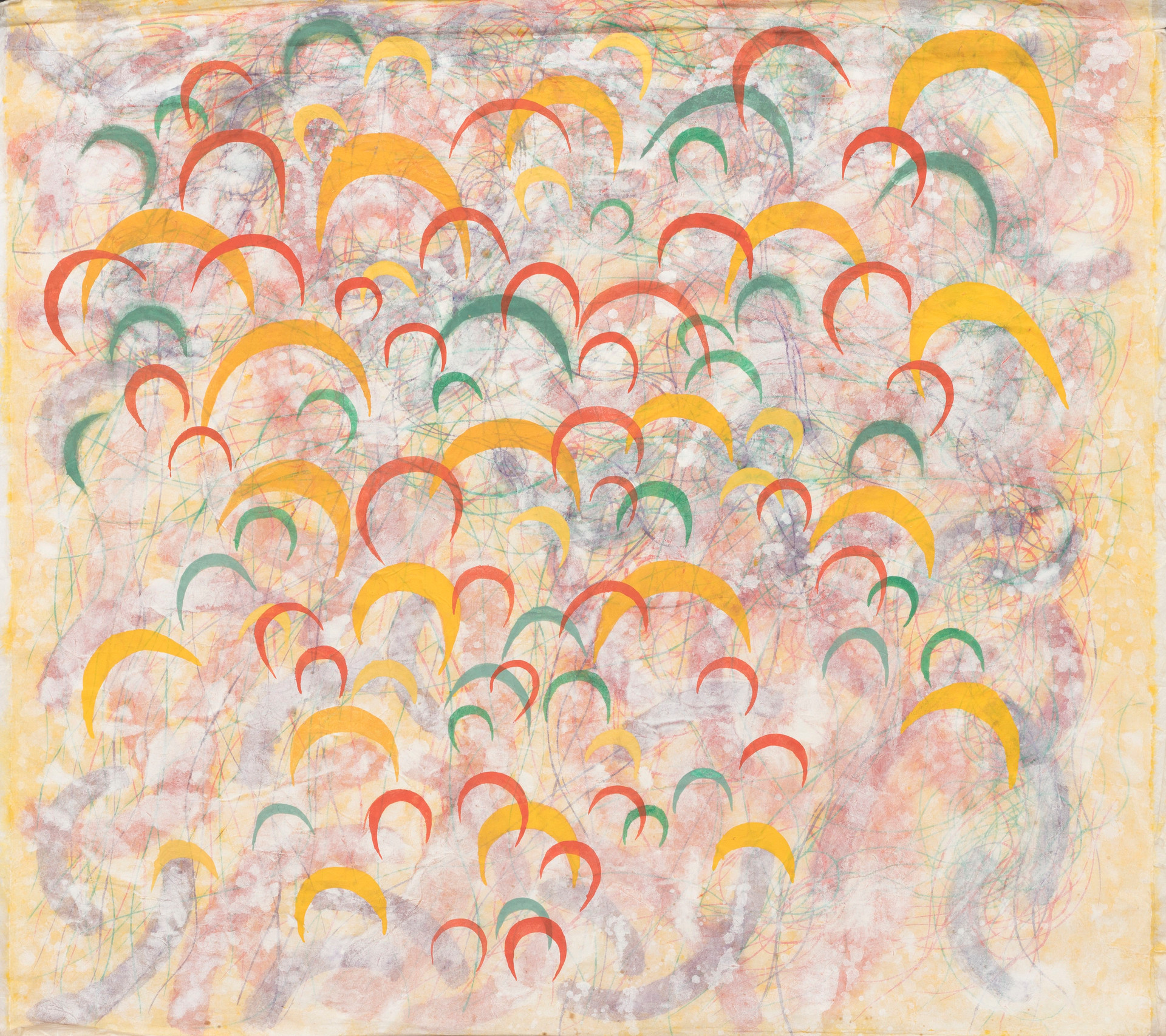 Untitled - red, orange and green crescents on colorful background