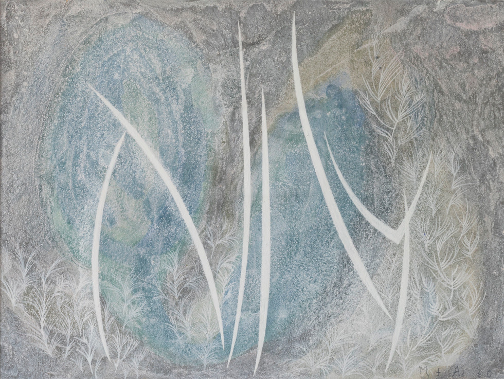 Untitled - white plants on blue gray background
