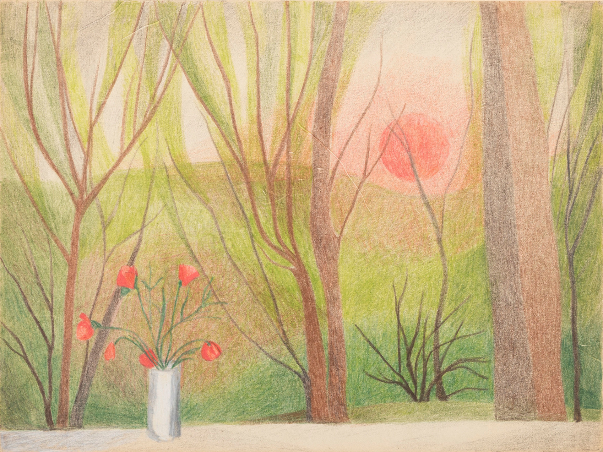 Untitled - view of sunrise/sunset though trees; a vase of red flowers in the foreground