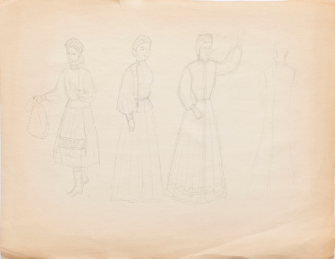 Untitled sketch - boy reading in chair and four women in dresses (back)
