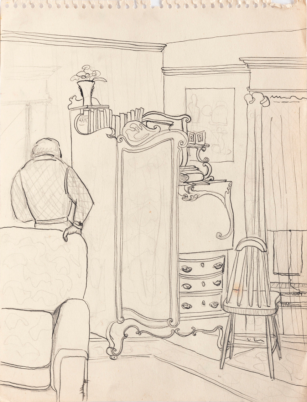 Untitled sketch - man leaning on a couch in domestic space with furniture