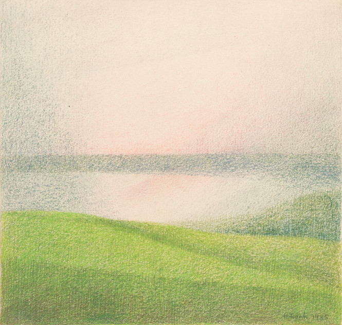 Untitled - landscape with horizontal blue stripe at center of the image, green field on the bottom