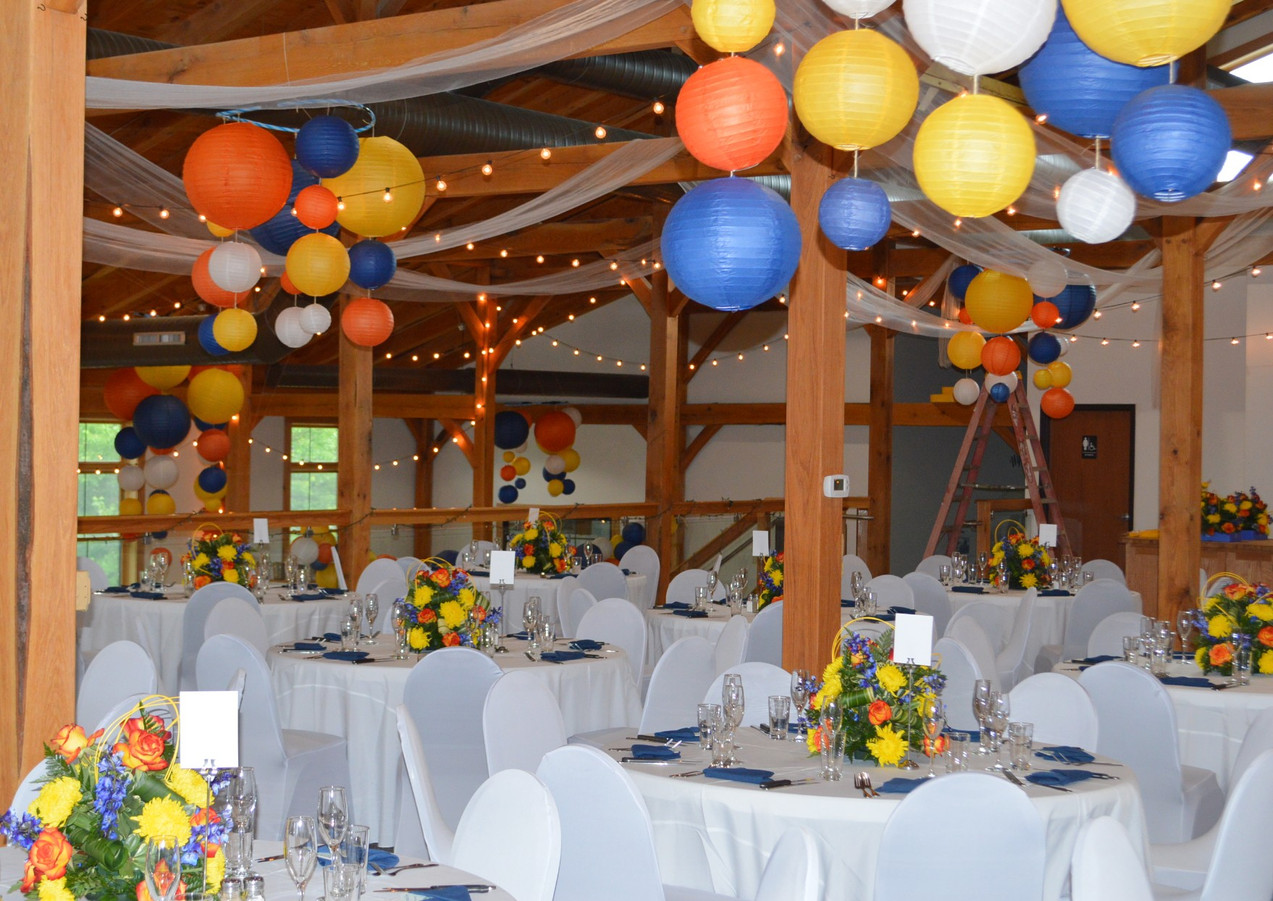 Blue Yellow Orange Wedding Decor