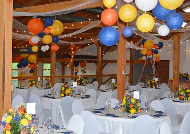Blue Yellow Orange Wedding Decor