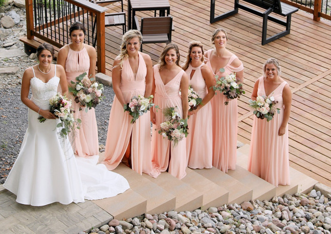 Blush Wedding Bouquets - Dahlias Hydrangeas Lisianthus Starflower