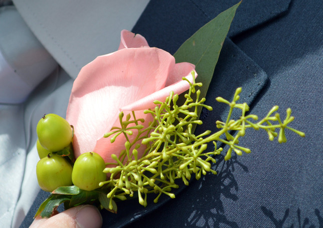 Coral rose and Hypericum Boutonniere