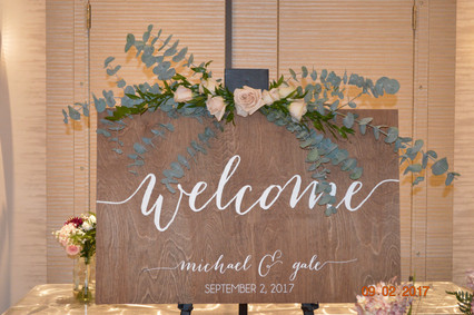 Welcome sign florals - Blush Roses and Eucalyptus