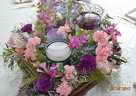 RUSTIC WEDDING CENTERPIECE DELPHINIUM CARNATIONS