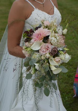 Cascading Blush Wedding Bouquet Dahlias Hydrangeas Starflower Seeded Eucalyptus