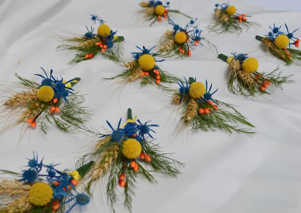 Blue Yellow and Orange Wedding Boutonnieres