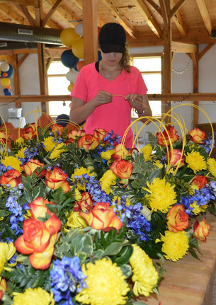 Blue Yellow and Orange Wedding Centerpieces