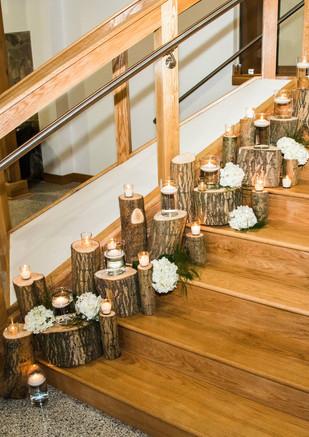 Woodland Decor Logs Hydrangeas Tea Lights