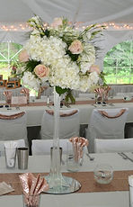 Rose Gold Weddng Decor Eiffel Tower Hydangeas Roses