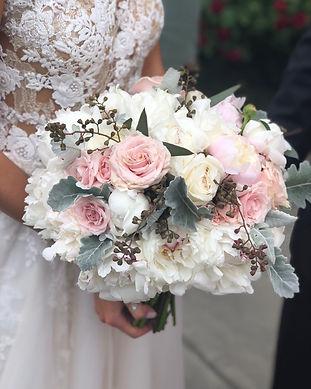 WHITE BLUSH PEONIES DUSTY MILLER SEEDED EUCA WEDDING FLOWERS