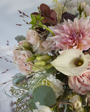 Blush Burgundy Dahlia Lisianthus Wedding