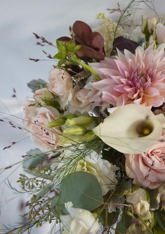Blush Wedding Bouquet Dahlias Hydrangeas Starflower Seeded Eucalyptus