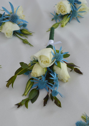 Spray Rose and Seaholly Boutonniere