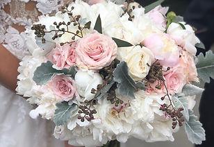 Blush White Peonies Dusty Miller Seeded Euca Wedding Flowers