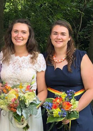 Blue Yellow and Orange Wedding Bouquets