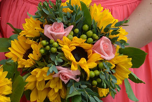 Coral Rose and Sunflower Wedding Bouquets