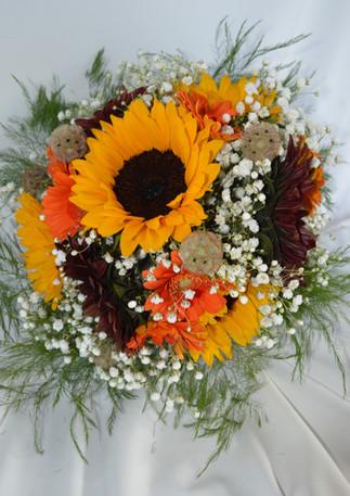 Yellow Sunflower, Red Sunflower, and Orange Gerbera Daisy Bouquet