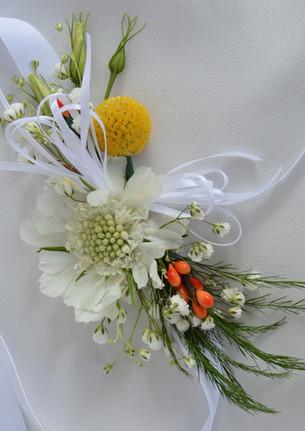 Orange Yellow White Wedding Wristlets