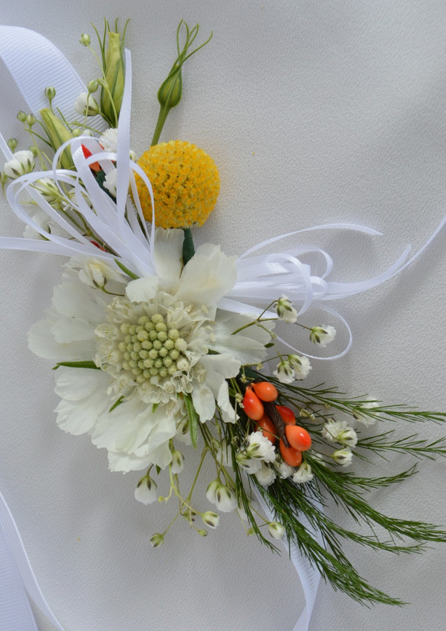 Orange Yellow White Wedding Wristlets