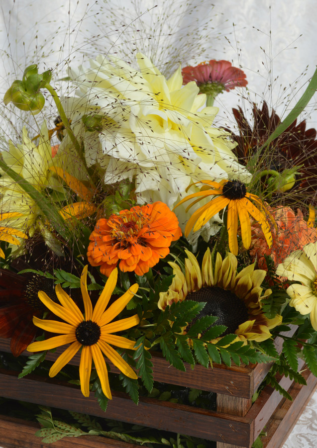 Fall Rustic Wedding Centerpiece Sunflowers Dahlias Zinnias
