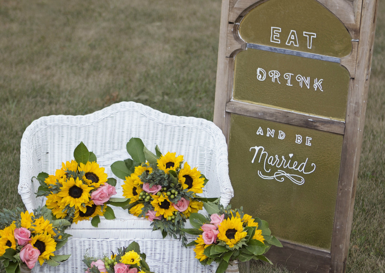 Yellow Sunflower and Coral Wedding Bouquets
