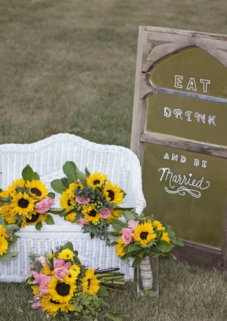 Yellow Sunflowers and Coral Wedding Bouquets