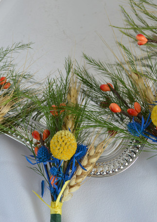 Blue Yellow and Orange Wedding Boutonnieres