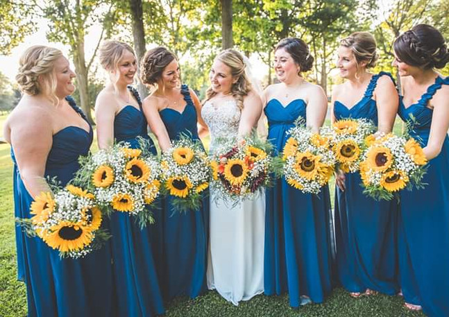Yellow, Orange, and Red Sunflower Bouquets