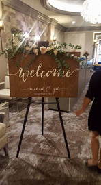 Eucalyptus and Blush Welcome Sign Florals