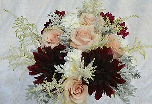 Blush Roses Burgundy Dahlias Astillbe Wedding Bouquet