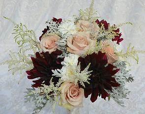 Burgundy Dahlia, blush roses, astillbe,