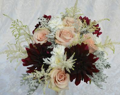 Bridal Bouquet - Burgundy Dahlias, Blush Roses, Astillbe, Dusty Miller