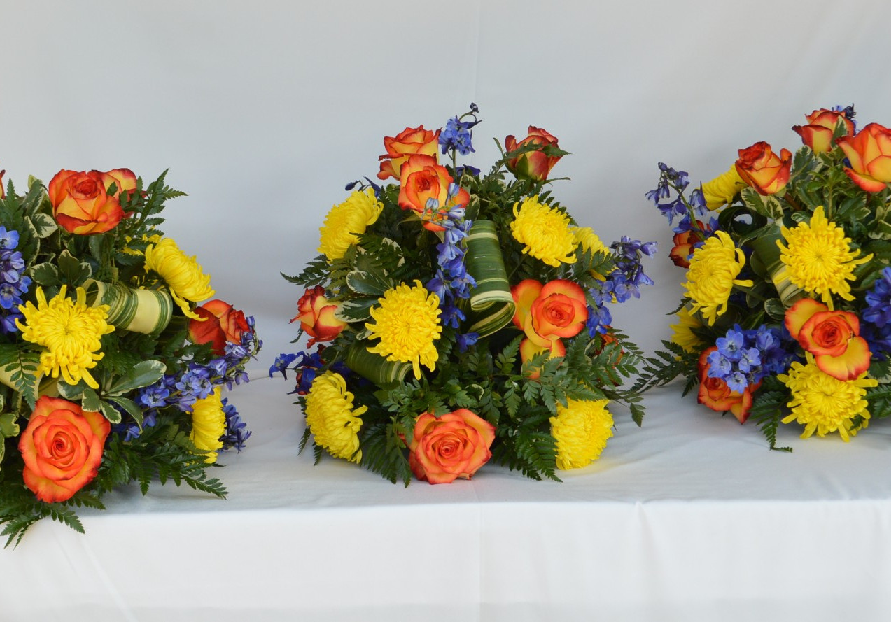 Blue Yellow and Orange Wedding Centerpieces
