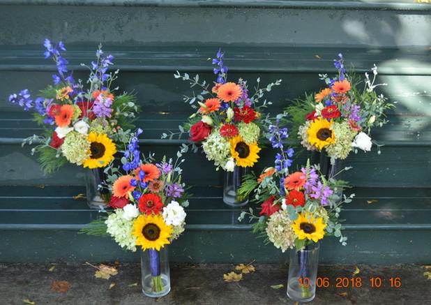Sunflower, Zinnia, and Deliphinium Bouquets