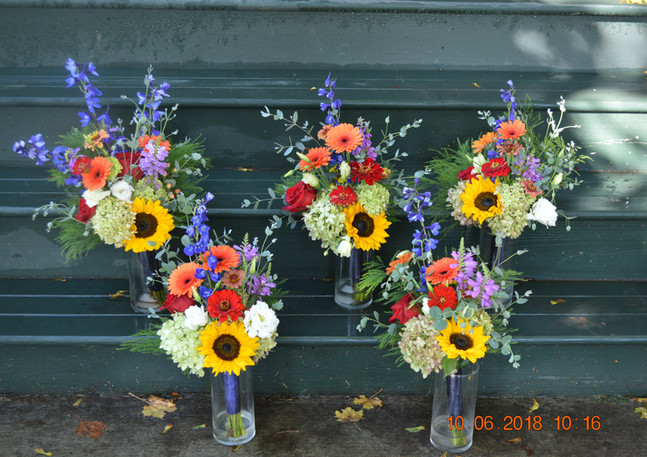 Garden Wedding Bouquets Zinnias Sunflowers Delphinium