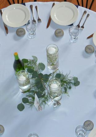 Glass Cylinder Wedding Centerpiece - Baby's Breath Eucalyptus