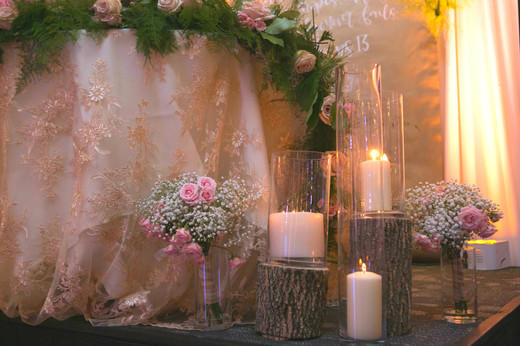 Blush Alter gardland repuposed for Sweet Heart Table