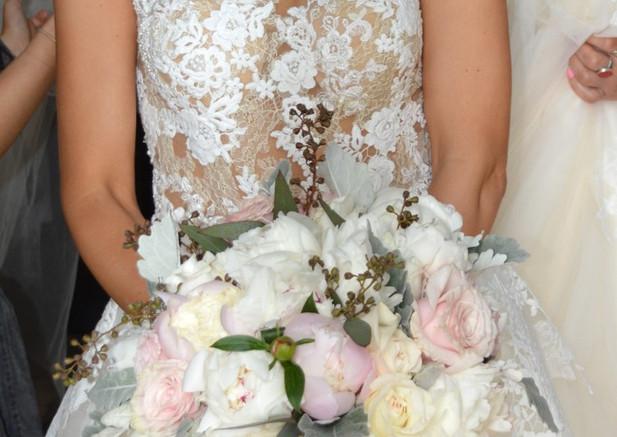 White and Blush Peony Wedding Bouquets