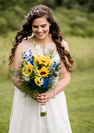 Sunflower, Calla Lily, and Blue Thistle Wedding Bouquet