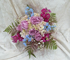 MAUVE ROSE FUSCHIA STOCK BLUE DELPHINIUM WEDDING FLOWERS