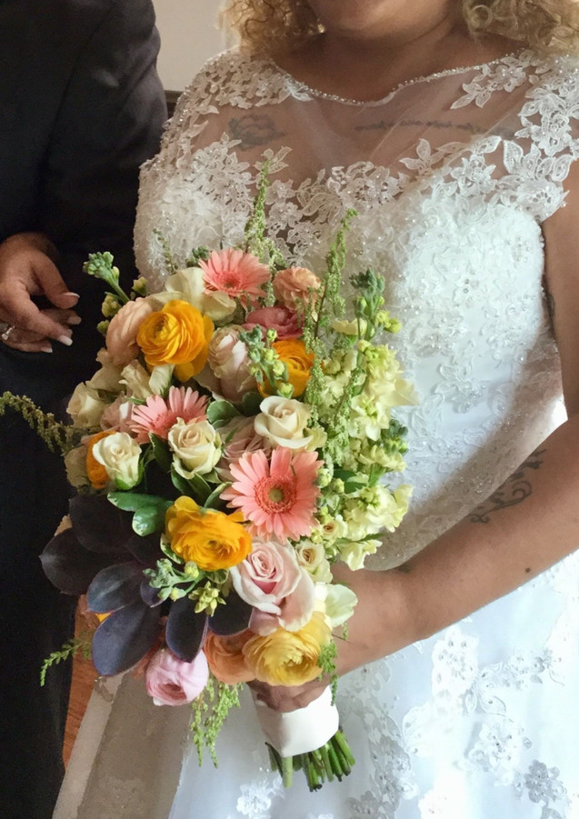 CORAL BLUSH GOLD RANUNCULUS GERBERA DAISY SUCCULENT WEDDING FLOWERS`