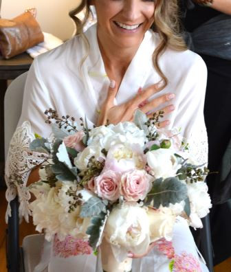 White and Blush Peony Wedding Bouquets Seeded Euca Blush Roses
