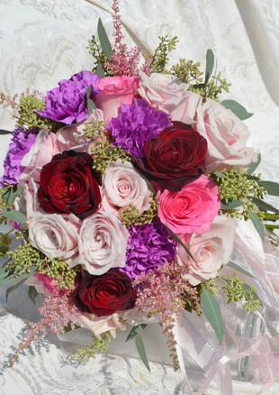 Jewel Tone Wedding Flowers Roses Carnations Astillbe Seeded Euca